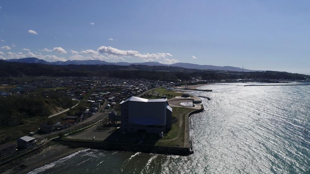 Ajigasawa Town & Beach aerial view