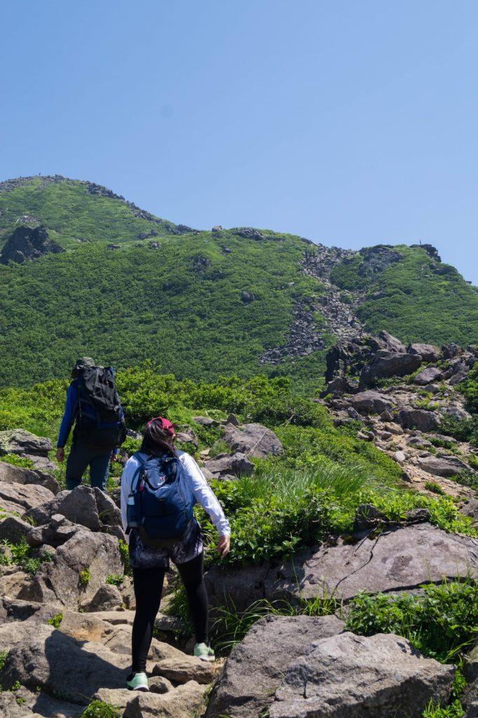 Trekkers hiking Mt Iwaki